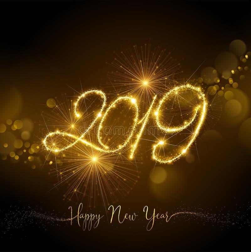 Fuochi d'artificio 2019 del nuovo anno con effetto delle luci tremulo Vettore illustrazione di stock