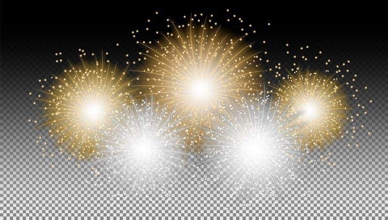 Fuochi d'artificio del nuovo anno sul vettore del fondo isolato il nero illustrazione di stock