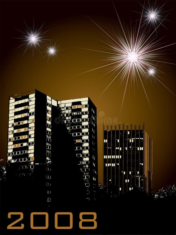 Fuochi d'artificio della città di nuovo anno royalty illustrazione gratis