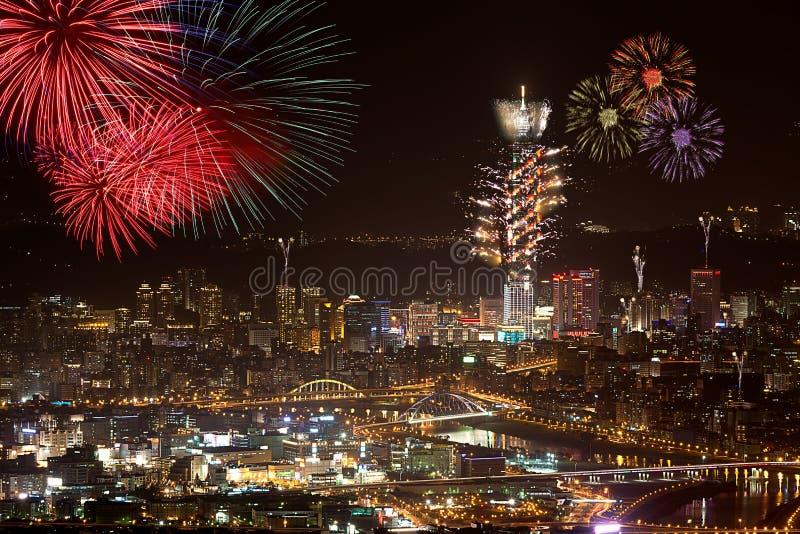 Fuochi d'artificio della città di Taipeh immagini stock