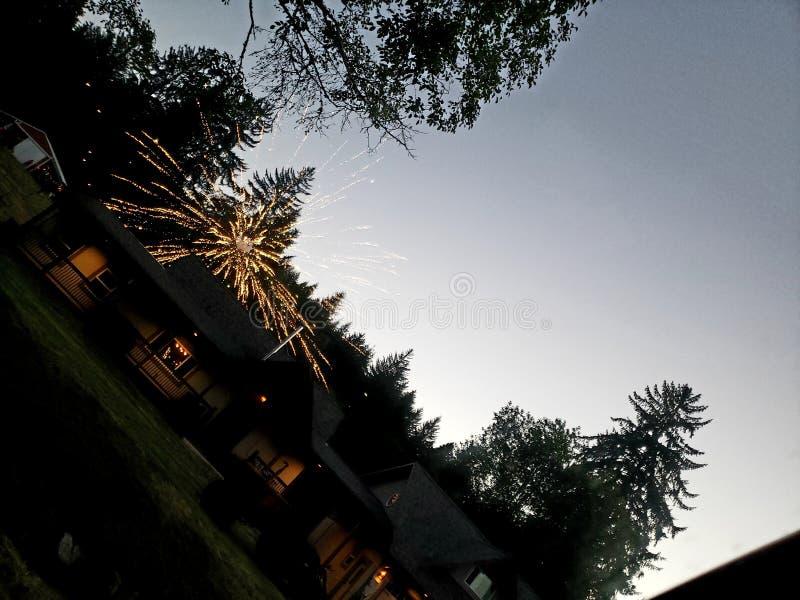 Fuochi d'artificio della costa dell'Oregon fotografia stock libera da diritti