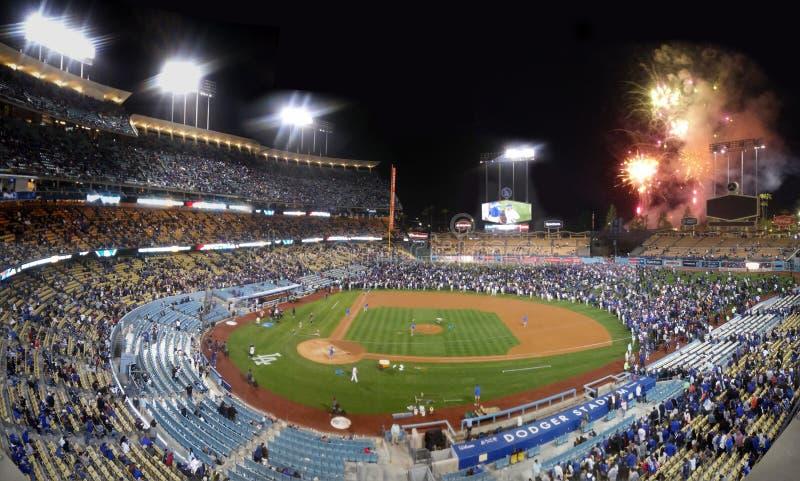 Fuochi d'artificio di Dodger Stadium immagini stock libere da diritti