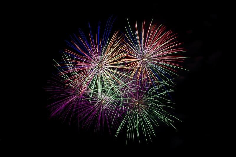 Fuochi d'artificio di festa sul cielo nero immagine stock