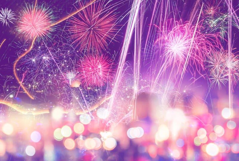 Fuochi d'artificio di nuovo anno Amore fotografia stock