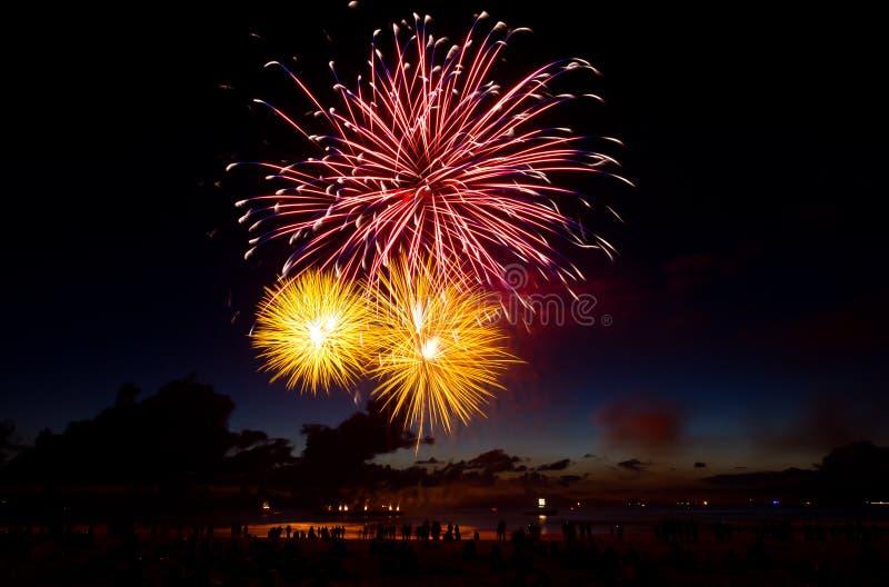 Fuochi d'artificio di Scheveningen - dei Paesi Bassi XIX fotografia stock libera da diritti