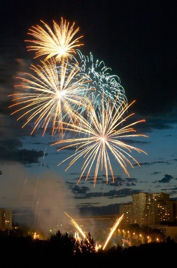 Fuochi d'artificio di sera immagini stock