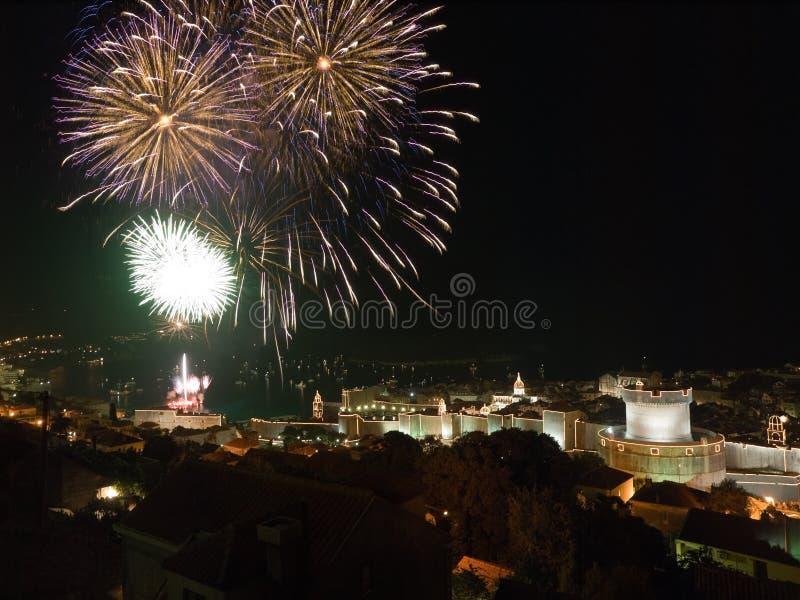 Fuochi d'artificio - Dubrovnik immagini stock libere da diritti