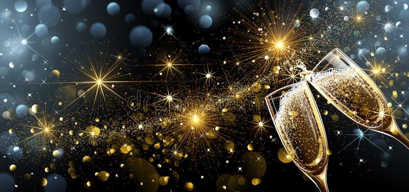 Fuochi d'artificio e champagne del nuovo anno illustrazione di stock