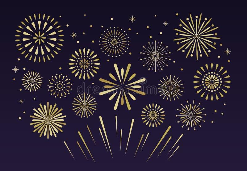 Fuochi d'artificio festivi dell'oro Vecto del petardo di pirotecnica di Natale illustrazione di stock