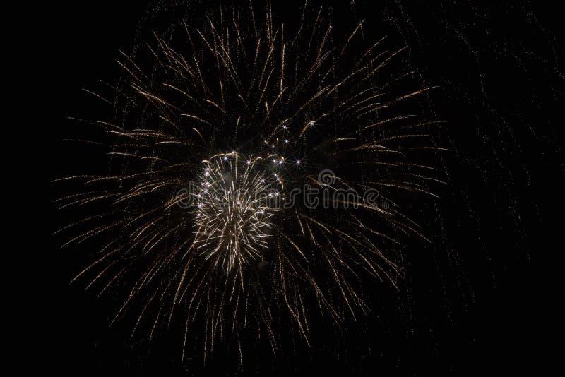 Fuochi d'artificio festivi nel cielo scuro fotografie stock
