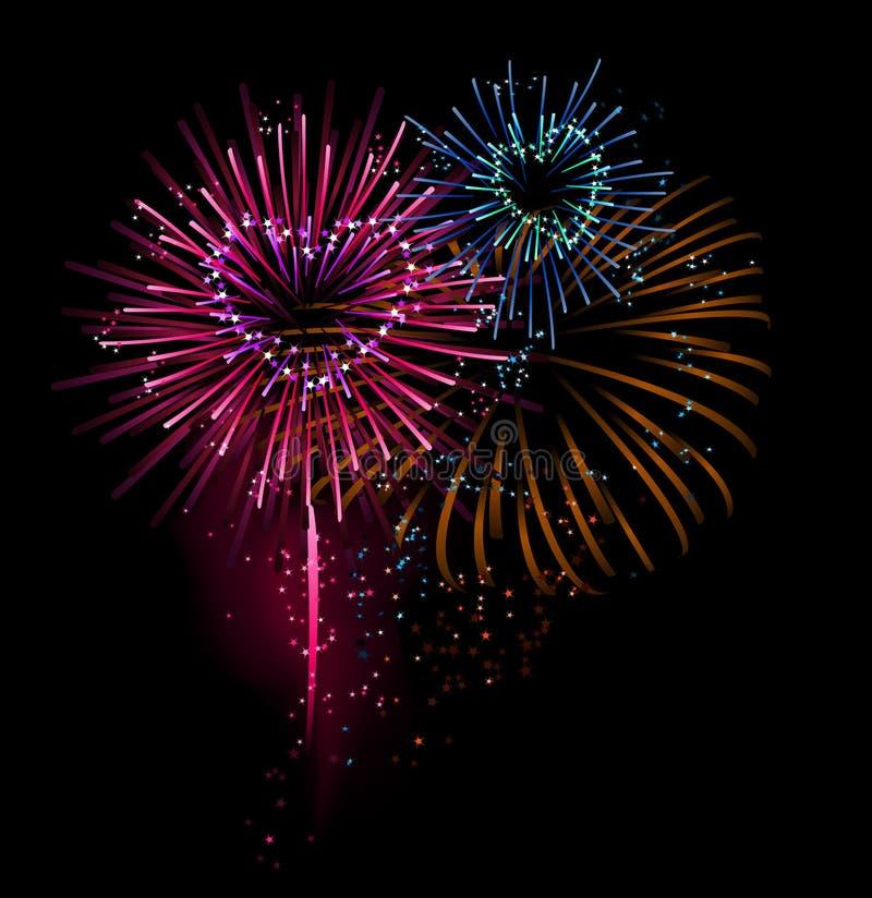 Fuochi d'artificio a forma di del cuore illustrazione vettoriale