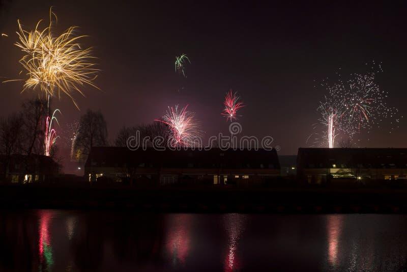 Fuochi d'artificio in Hoogeveen, Paesi Bassi fotografie stock