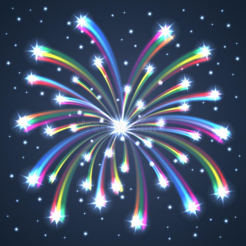 Fuochi d'artificio illuminati variopinti. illustrazione di stock