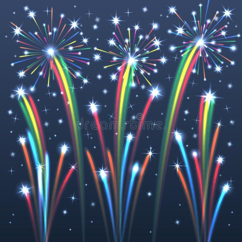 Fuochi d'artificio illuminati variopinti. royalty illustrazione gratis