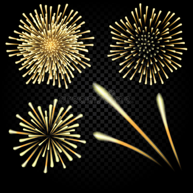 Fuochi d'artificio luminosi in onore della festa su un fondo nero Tre razzi Illustrazione illustrazione di stock