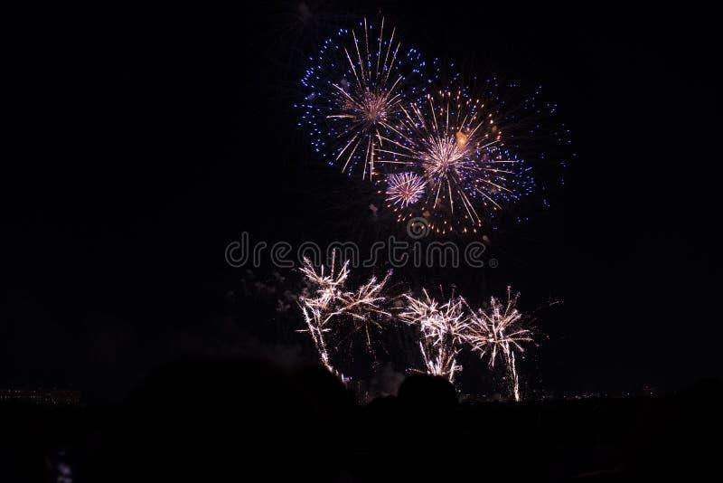 Fuochi d'artificio multipli in cielo notturno in una composizione nell'oro e nel blu delle tonalità immagini stock libere da diritti