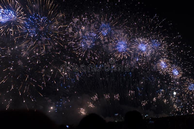Fuochi d'artificio multipli in cielo notturno in una composizione nell'oro e nel blu delle tonalità immagini stock