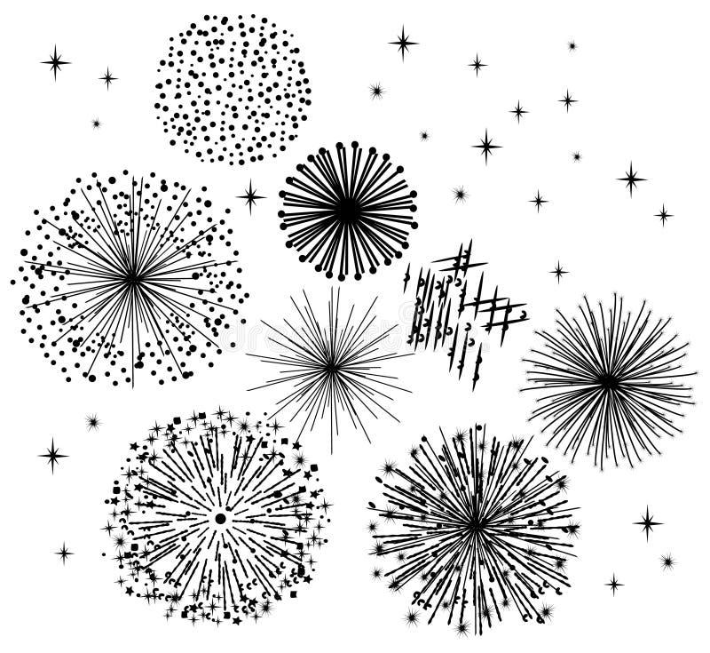 Fuochi d'artificio neri illustrazione di stock