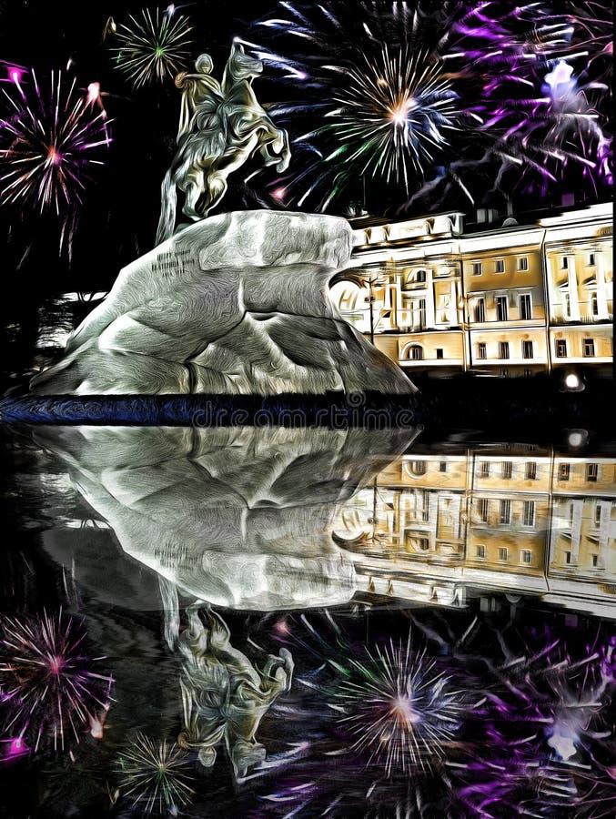 Fuochi d'artificio per il nuovo anno sul monumento allo Zar Peter 1, Bronze Horseman, con riflessione, a San Pietroburgo, Russia, illustrazione di stock