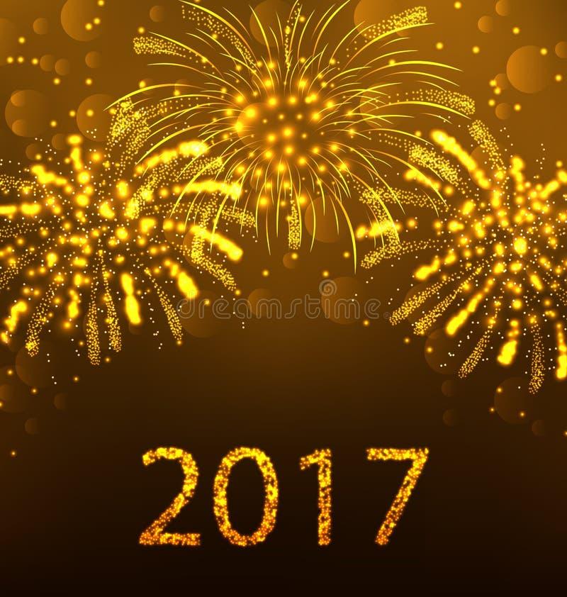 Fuochi d'artificio 2017, progettazione del buon anno del fondo di festa illustrazione vettoriale