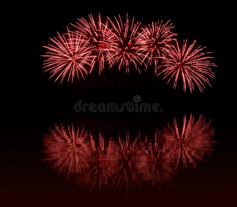 Fuochi d'artificio rossi fotografie stock