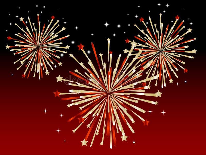 Fuochi d'artificio rossi illustrazione vettoriale