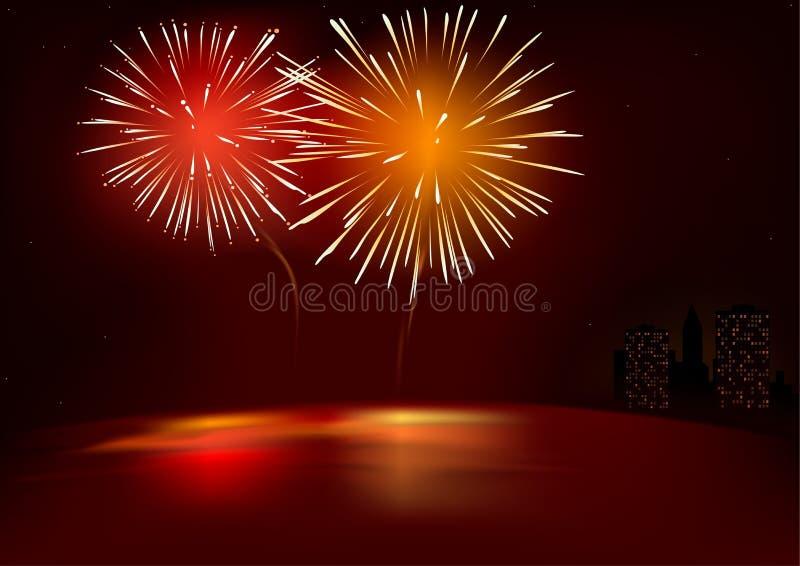 Fuochi d'artificio rossi royalty illustrazione gratis