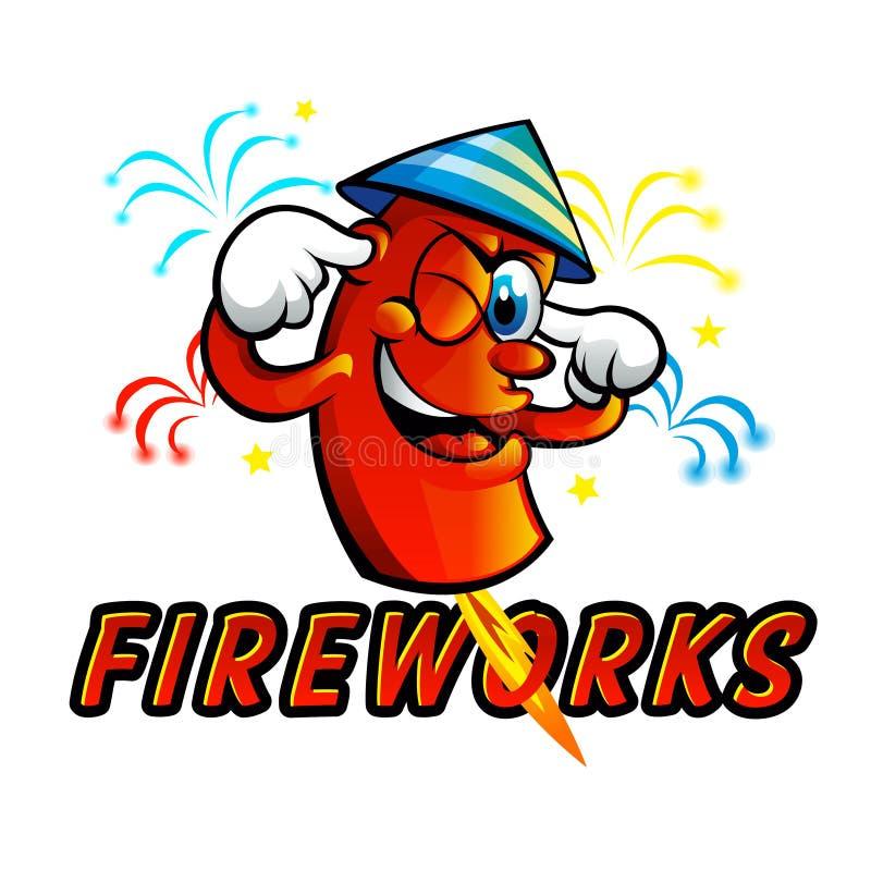 Fuochi d'artificio rossi del fumetto illustrazione vettoriale