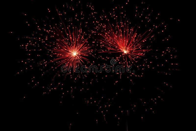 Fuochi d'artificio sopra il cielo nero immagini stock libere da diritti