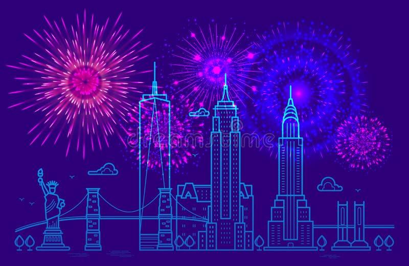 Fuochi d'artificio sopra New York Linea progettazione di vettore di New York Festa dell'indipendenza fondo felice del 4 luglio royalty illustrazione gratis