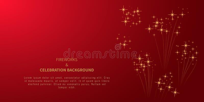 Fuochi d'artificio stellati su fondo rosso con il posto per testo Elemento di progettazione per l'insegna di festa, manifesto, al illustrazione vettoriale