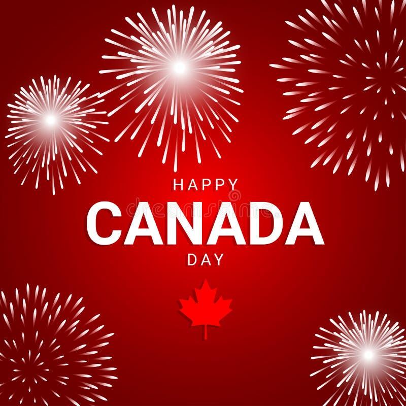 Fuochi d'artificio su fondo rosso per la festa nazionale del Canada royalty illustrazione gratis