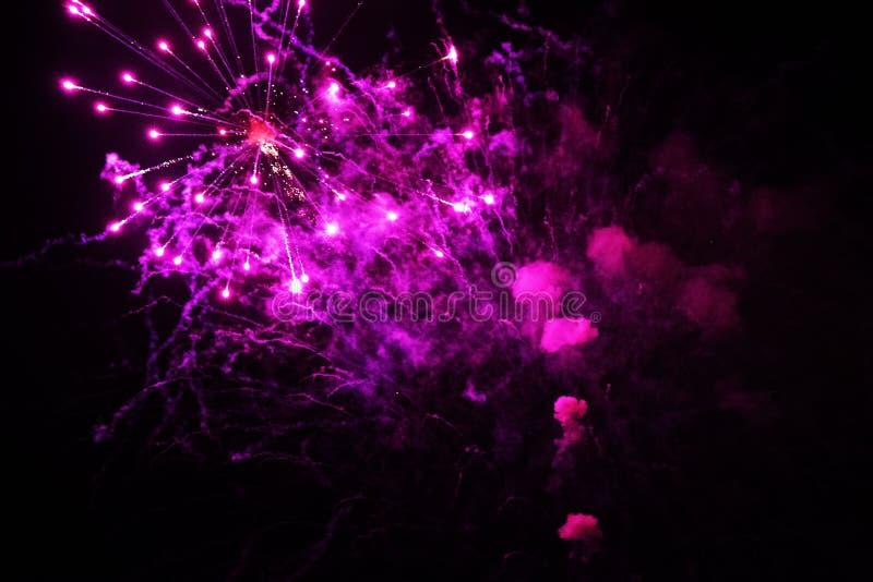 Fuochi d'artificio su un fondo nero fotografia stock libera da diritti