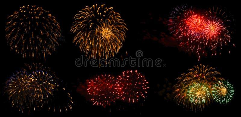 Fuochi d'artificio su un fondo nero isolato fotografia stock