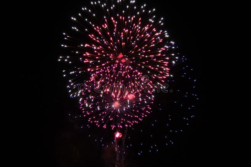 Fuochi d'artificio sul il quarto luglio immagini stock libere da diritti