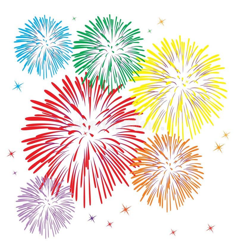 Fuochi d'artificio variopinti royalty illustrazione gratis