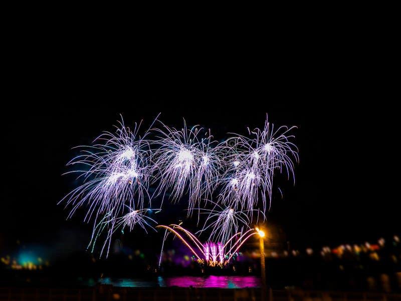 Fuochi d'artificio variopinti con gli scoppi multipli contro il cielo scuro fotografia stock