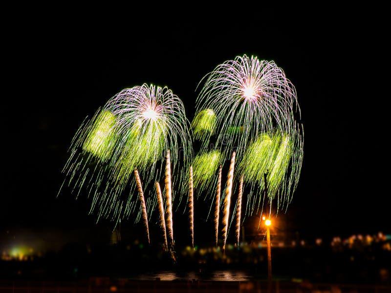 Fuochi d'artificio variopinti con gli scoppi multipli contro il cielo scuro fotografie stock