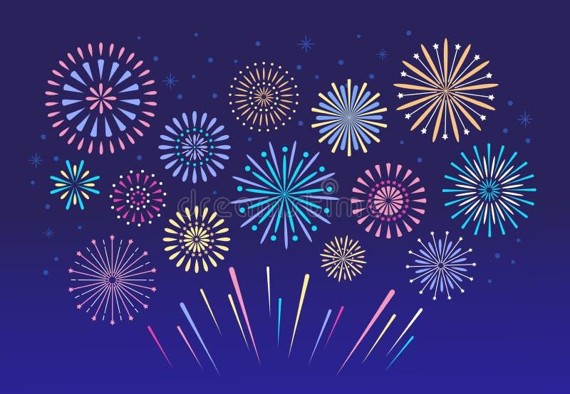 Fuochi d'artificio variopinti Fuoco d'artificio del fuoco di celebrazione, petardo di pirotecnica di natale per il fondo di festi illustrazione di stock
