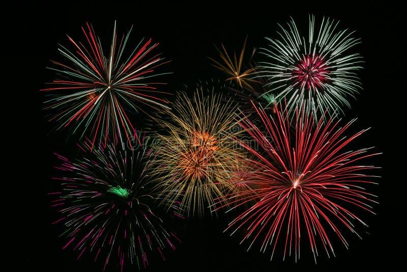 Fuochi d'artificio variopinti luminosi immagine stock