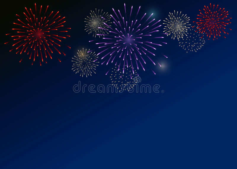Fuochi d'artificio variopinti sui precedenti blu scuro immagine stock