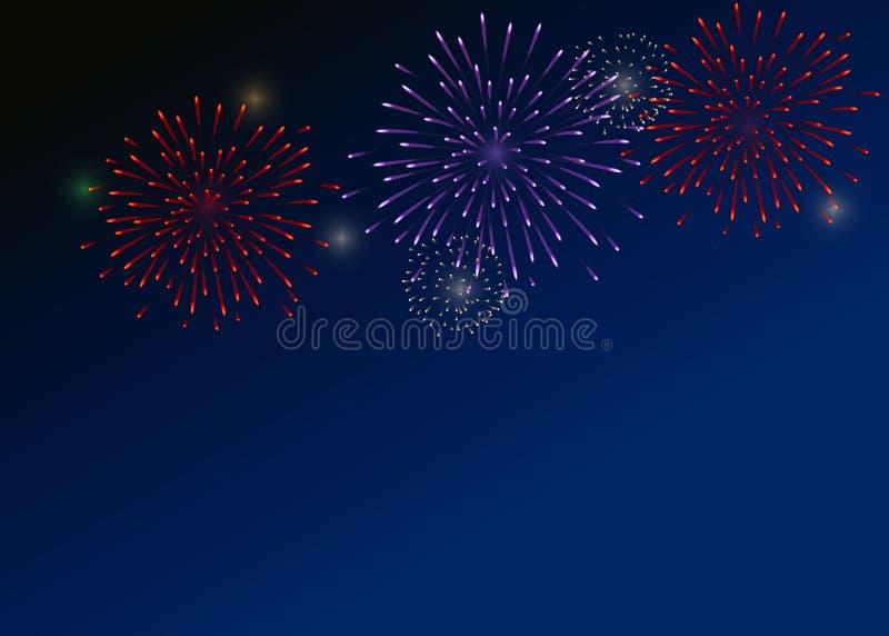 Fuochi d'artificio variopinti sui precedenti blu scuro fotografia stock
