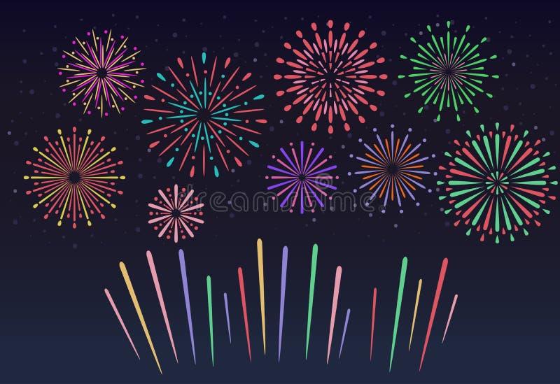 Fuochi d'artificio variopinti sul fondo del cielo notturno Illustrazione di vettore illustrazione vettoriale