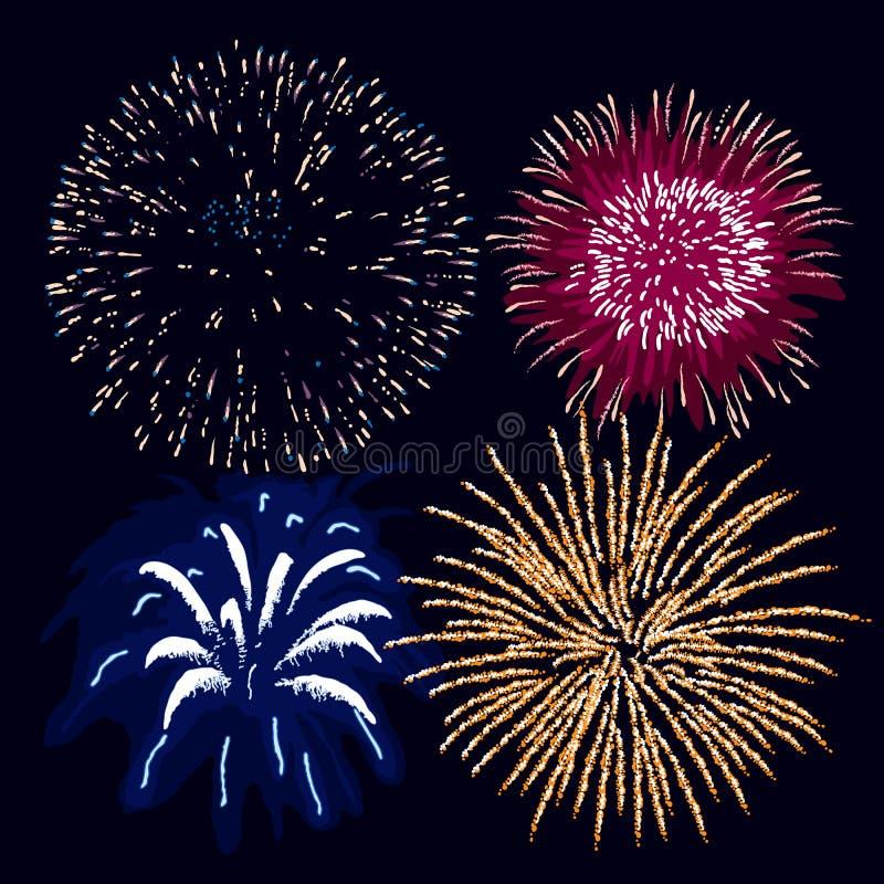 Fuochi d'artificio (vettore) illustrazione vettoriale