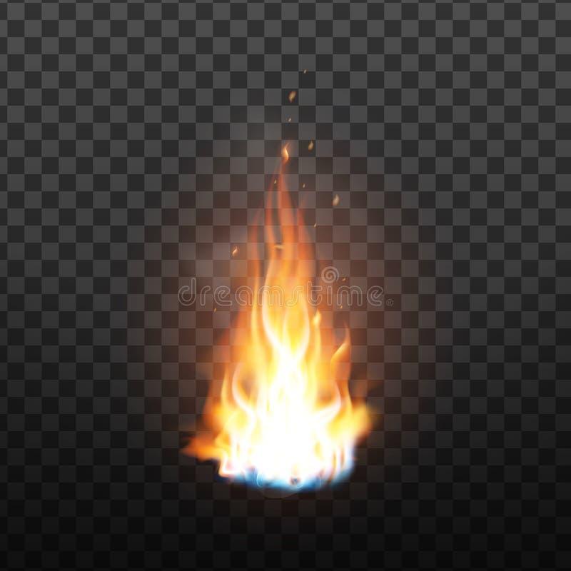 Fuoco bruciante di animazione con il vettore di effetto delle scintille illustrazione vettoriale