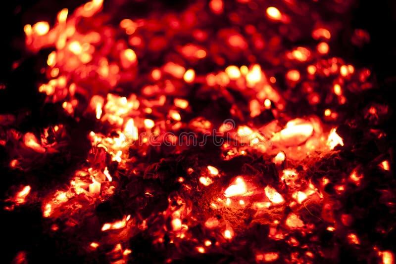 Fuoco caldo del carbone fotografia stock