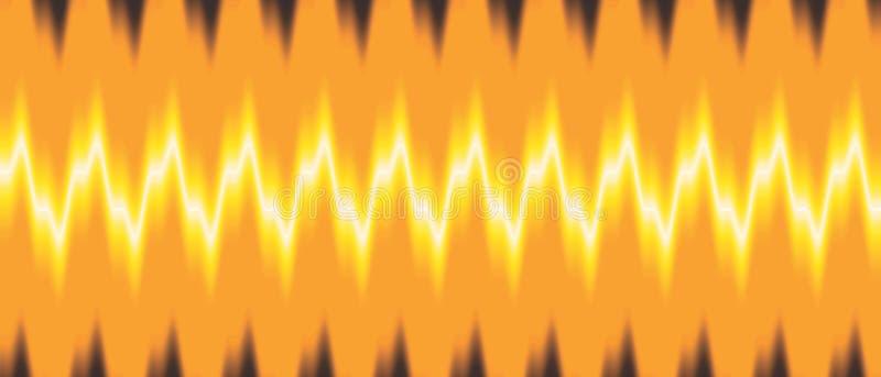 Fuoco che viaggia con tonalità variopinta dell'onda sonora e con l'immagine di sfondo di effetto della luce e la progettazione de illustrazione vettoriale