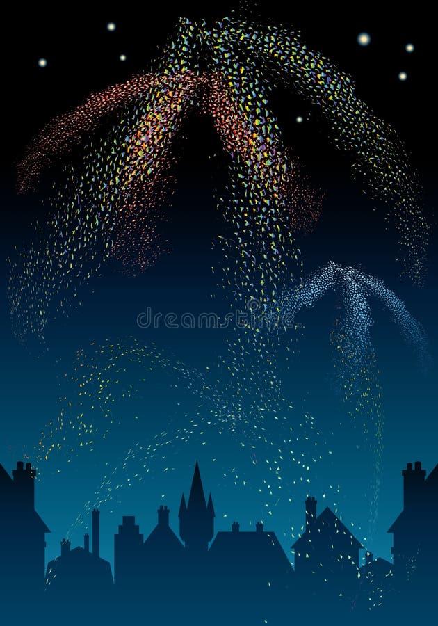 Fuoco d'artificio. illustrazione vettoriale