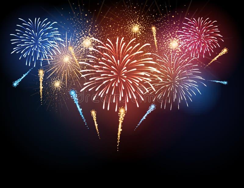 Fuoco d'artificio di festa di vettore illustrazione di stock