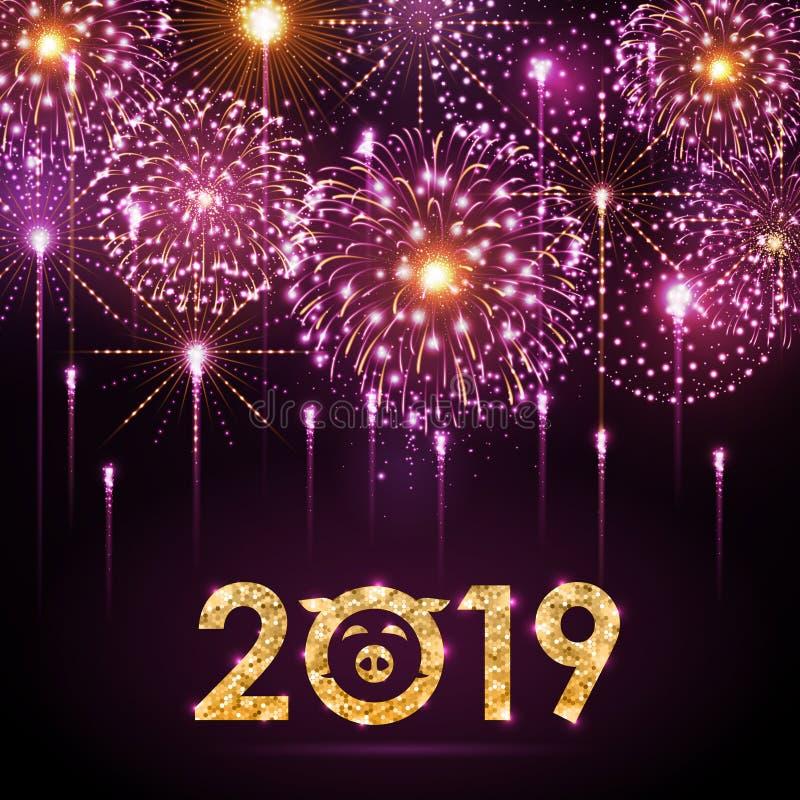 Fuoco d'artificio di rosa di festival di festa di vettore Scheda di nuovo anno felice illustrazione di stock